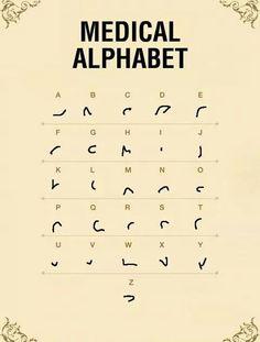 Medical Alphabet Source by omblinette Alphabet Code, Alphabet Symbols, Alphabet And Numbers, Shorthand Alphabet, Ancient Alphabets, Ancient Symbols, Different Alphabets, Sms Language, Writing Styles