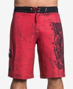 Affliction Men's A Frame Slim-Fit Graphic-Print Boardshorts  - Red 33