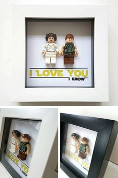 This Star Wars inspired Hans Solo and Princess Leia lego wall art is the perfect Valentine's day gift idea for him. It's is also perfect for anniversary for geek couples. #ad #starwars #hansolo #leia #giftidea #giftforhim #valentinesdaygift #anniversarygift #geek #fangift #love #wallart #walldecor #lego