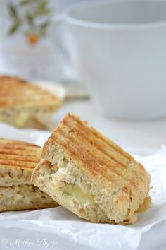 Creamy White Chicken Grilled Cheese--use fat free cream cheese, fat free swiss or mozzarella