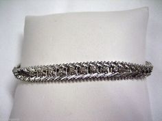 "VINTAGE 750 / 18K ITALY WHITE GOLD & DIAMOND FLAT SNAKE CHAIN 7 1/2"" BRACELET Ebay Auction, White Gold Diamonds, Snake, Italy, Flats, Band, Chain, Detail, Bracelets"