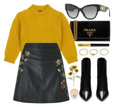 """Sunflower"" by smartbuyglasses-uk ❤ liked on Polyvore featuring Prada, Comme Moi, Rimmel, Miss Selfridge, Versace, Yves Saint Laurent, NYX, Pier 1 Imports, yellow and black"