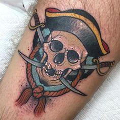 First tattoo! Pirate Skull by Anya at Marlowe Ink in Fairfax VA