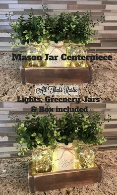 Love this Mason Jar Centerpiece! It comes with the box, mason jars, fairy lights and greenery. There are different colors of boxes available too. What could be easier? This will look great with Farmhouse Style Decor. #masonjar #masonjarcenterpiece #farmhouse #farmhousedecor #ad #farmhousestyle #fairylights #greenery