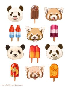 A super fun illustration of pandas and popsicles. Sweet, fruity popsicles and cute, fluffy pandas - why not! The printed image is in Illustration Mignonne, Fun Illustration, Pullover Design, Art Mignon, Panda Love, Cute Drawings, Cute Art, Fine Art Prints, Character Design