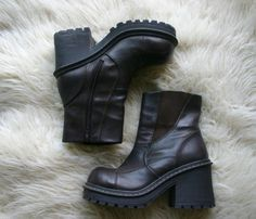 90s BOOTS / Platform VEGAN Brown Chunky Faux by DEEEPWATERVINTAGE