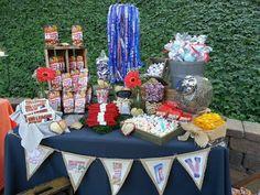 Vintage Baseball Wedding Concessions Table with Handmade Burlap Banner