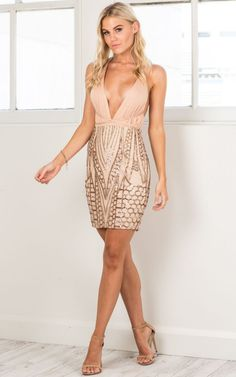 Shooting Star dress in beige and gold sequin | SHOWPO Fashion Online Shopping