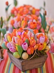 Tulip centerpiece - great for a Spring wedding or a wedding near Easter.