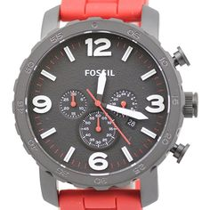 Fossil Men's JR1422 Nate Chronograph Red Silicone Watch