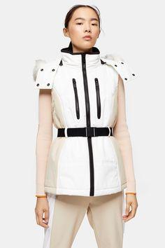 **Stone and Ecru Colour Block Ski Gilet by Topshop SNO Ski Fashion, Fashion Design, Color Blocking, Colour Block, Ecru Color, Fashion Forward, Skiing, Hooded Jacket, Topshop