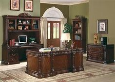 Union Hill Double Pedestal Desk with Leather Insert Top/ Credenz& Hutch/Cabinet