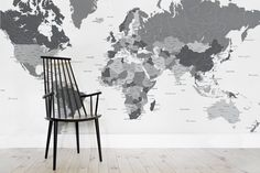 World classic laminated by national geographic maps national black and white modern world map mural milexa gumiabroncs Images