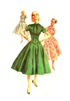 1950s Dress - Simplicity 1409 - Long Line Shaped Bodice / Flared Skirt / Three Necklines - Vintage Sewing Pattern - Bust 34