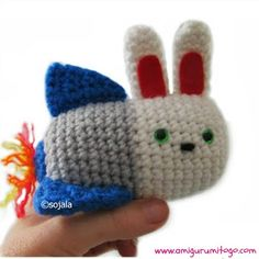 Moshi Moshi Kawaii Bunny Rocket - Free Amigurumi Crochet Pattern here: http://www.amigurumitogo.com/2013/07/moshi-moshi-kawaii-bunny-rocket-crochet.html