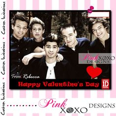 Printable 1D One Direction Digital VALENTINE'S DAY CARD - Red - Personalized Valentine - Print at Home - Fast Turnaround. $3.95, via Etsy.