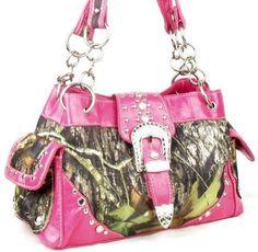 Western Belt Buckle Purse Camouflage Handbag Camo Pink Trim Buckles Belts
