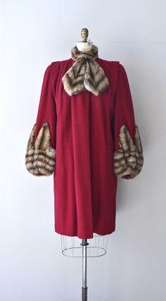 Ubi Sunt coat 1930s wool and fur coat vintage red by DearGolden