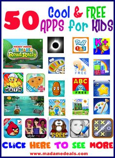 50 Cool & FREE APPS for KIDS http://madamedeals.com/free-kids-apps/ #inspireothers #free #apps