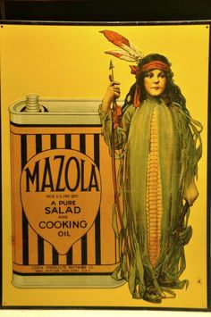 Vintage Tin Mazola Salad Oil Indian Maiden Sign, AAA Sign Co., Coitsville, Ohio #AAASignCompany
