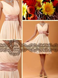 Chic Design Short Bridesmaid Dress with V-Neck Style and Satin Sash - Short Bridesmaid Dresses - Short Prom Dresses - Prom Dresses. $59.00, via Etsy.