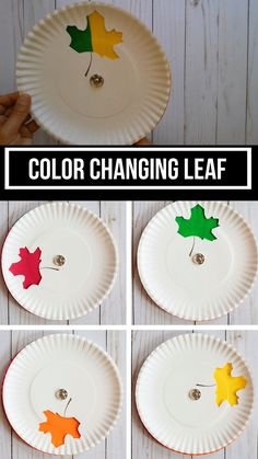An easy fall paper plate leaf craft to make with preschoolers, kindergartners and older kids. This color changing leaf is great to notice nature changes and trees. #leafcraft #fallcraft #paperplatecraft #craftsforkids #fallcraftsforkids