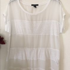 Sheer Panel Top This is really cute, every other panel is sheer, would make a great swim suit top cover. Forever 21 Tops Tees - Short Sleeve