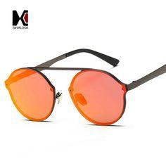 40c85f1d136 SHAUNA Retro Women Rimless Roun Sunglasses Brand Designer Fashion Men Red  Reflective Glasses UV400. Yesterday s