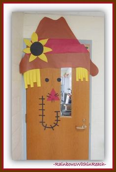 Scarecrow Decorated Door via RainbowsWithinReach