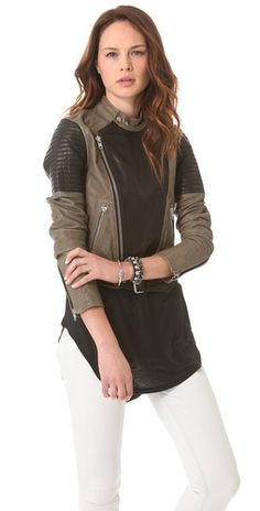 Two Tone Leather Biker Jacket