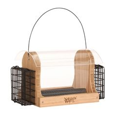 Nature's Way 4 Quart Bamboo Hopper Feed With 2 Suet Cages * Extra spacing to accommodate large birds like Cardinals and Jays* Wide opening for easy filling and no spilling* Stay-clear #hometools #homeequipment #homedepot #houseneeds
