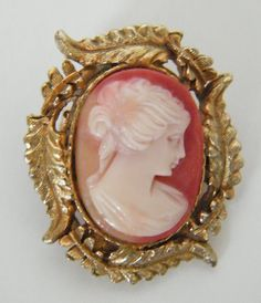 Antique Vintage Pink White Shell CAMEO Roman by TwoVintageLadies