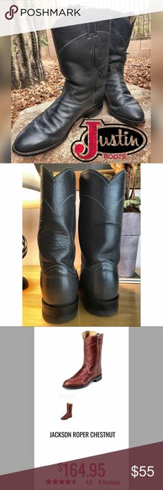 Justin Roper Boots 👢👢Great condition 👍Size 9-B Put these beautiful Ropers under the tree 🌲 for that guy of yours. Trust me—he'll thank you for them.   Some wear. Great condition. Gray color goes with everything.   Made in USA 🇺🇸 Justin Boots Shoes Boots