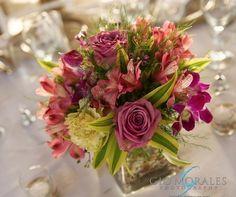 table centerpiece for beach wedding in Villa Montana Resort, Puerto Rico. Flowers by Fusion Floral ART #puertorico wedding florist