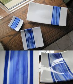 Fused glass platter and plates - blue and white stripe - GLASS CRAFTS