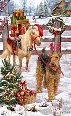 Airedale Terrier - Christmas Delivery  by Margaret Sweeney