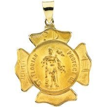 St Florian Round Fire Fighters Hollow 14 Karat Yellow Gold Protect Us Medal - Fine Jewelry Fashion St Florian, Estate Rings, Gold Medallion, Sterling Silver Pendants, Fine Jewelry, Fashion Jewelry, Yellow, Fire Fighters, Products