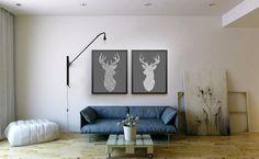 Twin Deer Heads  Deer print  Triangle mosaic print by WestridgeART, $51.00