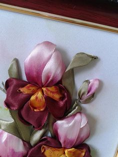 Gift framed embroidery silk ribbon, Home decor wall art, Flower picture, Flower gift mom, Embroidery miniature, Godmothers gift, Flower sisters Miniature 3d effect ribbon embroidery pinr iris . It can be a gift for any occasion! Due to its small size may be a perfect gift card . Also,