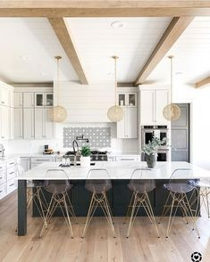 Green Cabinets, Kitchen Cabinets, Green Kitchen, Wood Beams, Types Of Wood, Bathroom Flooring, Modern Farmhouse, Told You So, House Design