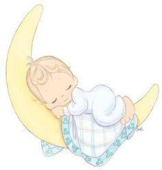 precious moments baby sleeping on crescent moon -- cute for baby shower tags Precious Moments Nursery, Precious Moments Quotes, Clipart Baby, Angel Clipart, Scrapbooking Image, Dibujos Baby Shower, Scrapbook Bebe, Belly Painting, Knitted Baby Blankets