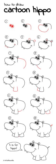 Kunst Zeichnungen - How to draw Cartoon Hippo. Easy drawing, step by step, perfect for kids! Kunst Zeichnungen - How to draw Cartoon Hippo. Easy drawing, step by step, perfect for kids! Drawing Tutorials For Kids, Drawing For Kids, Art For Kids, Children Drawing, Easy Drawings For Kids, Easy Designs To Draw, Simple Animal Drawings, Kids Fun, Drawing Lessons