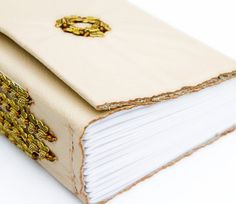 Beige leather Journal beaded butterfly Sketchbook by SunnyBooks, $55.00