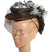 1940's Marion Valle Brown Straw Topper Hat With Silk Flowers and Veil