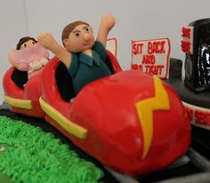 Rollercoaster birthday cake!! :-) by Pauls Creative Cakes, via Flickr - Ha-ha, she's flashing the camera!