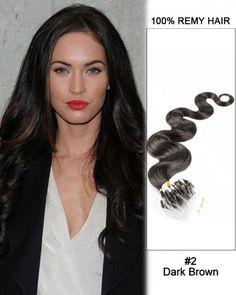 Wholesale #2 Dark Brown 18'-24' Body Wave 100% Remy Hair Human Micro Loop Hair Extensions