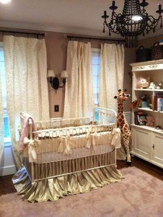 I like the black chandelier!  custom handmade designer nursery bedding by drapesonadime on Etsy, $150.00