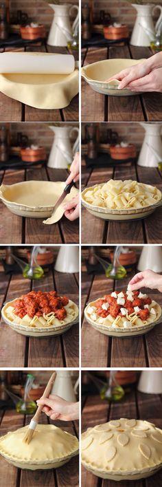 pastel de pasta con albóndigas paso a paso http://kanelaylimon.blogspot.com.es/2013/05/en-casa-nos-encanta-la-pasta-y-como.html