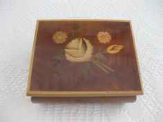 Lacquered Wood Box Hinged With Floral Inlay  by MyLittleSomethings, $20.00