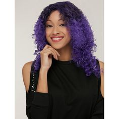 Medium Black Mixed Purple Side Parting Afro Curly Synthetic Wig #>=#>=#>=#>=#> Click on the pin to check out discount price, color, size, shipping, etc. Save and like it!